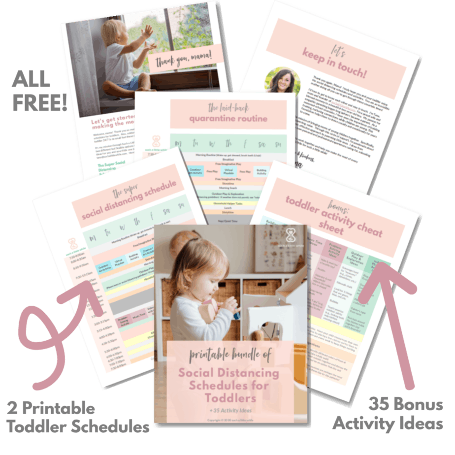 FREE printable bundle of social distancing schedules and ideas for quarantine toddler activities.