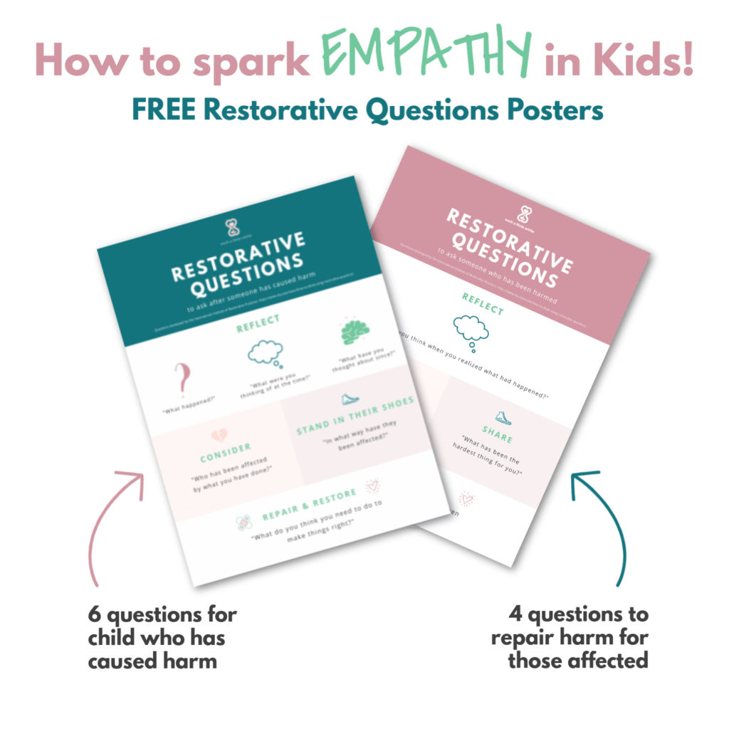 How to spark Empathy in Kids!  Free Restorative Questions Posters.