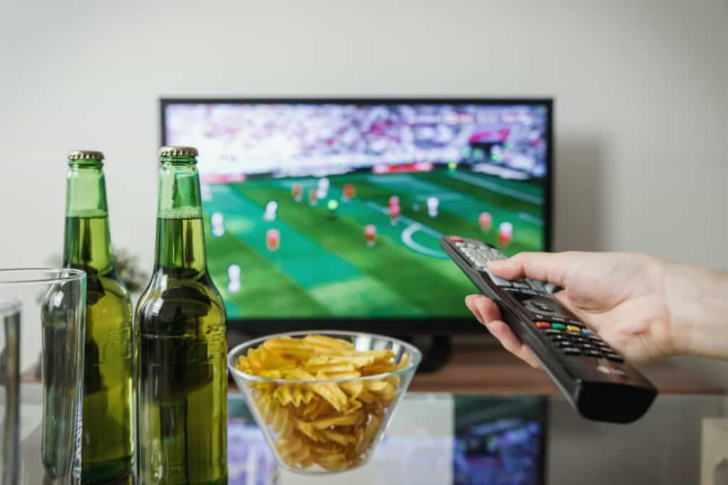 Dad settling in with some snacks and drinks for the big game!  The perfect father's day idea for the sports-loving dad.