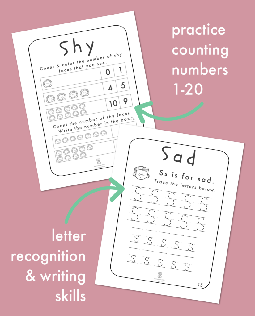 Practice counting numbers 1-20. Letter recognition & writing skills.