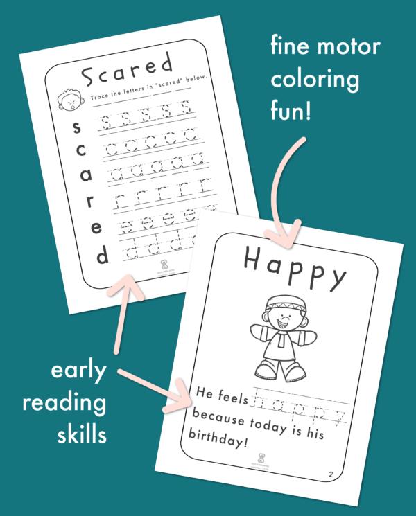 Feelings Worksheets for Kids:Fine motor coloring fun! Early reading skills.