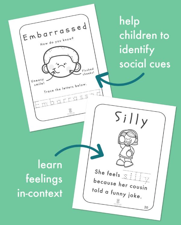 Feelings Worksheets for Kids:Help children identify social cues and learn feelings in-context.