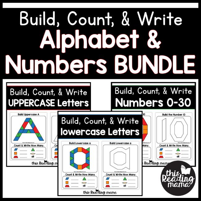 This Reading Mama (homeschool preschool worksheet): Build, Count, & Write: Alphabet & Numbers Bundle