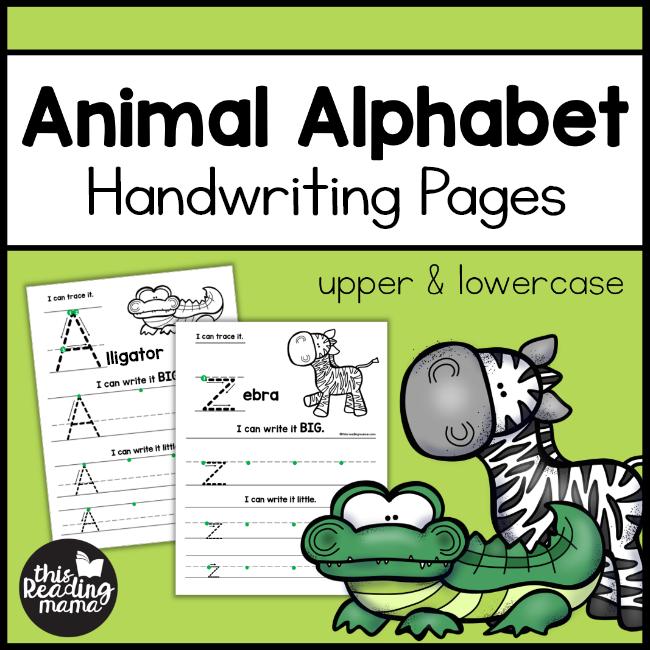 This Reading Mama (homeschool preschool worksheet): Animal Alphabet Handwriting Pages (upper & lowercase).