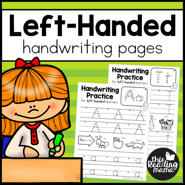 This Reading Mama (homeschool preschool worksheet): Left-Handed Handwriting Pages.