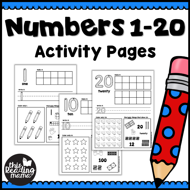 This Reading Mama (homeschool preschool worksheet): Numbers 1-20 Activity Pages