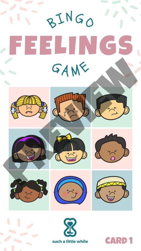 Feelings Bingo Game Preview 1