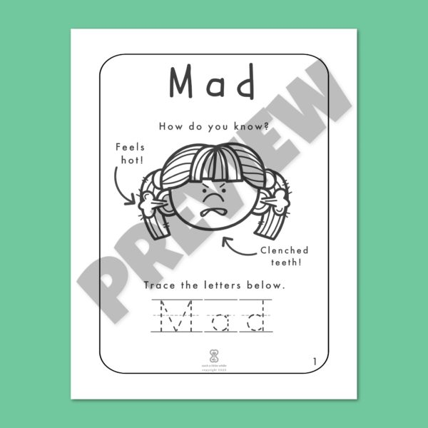 """Anger Worksheets for Kids PDF: """"It's Okay to Feel Mad!"""" by Such a Little While Preview 1"""