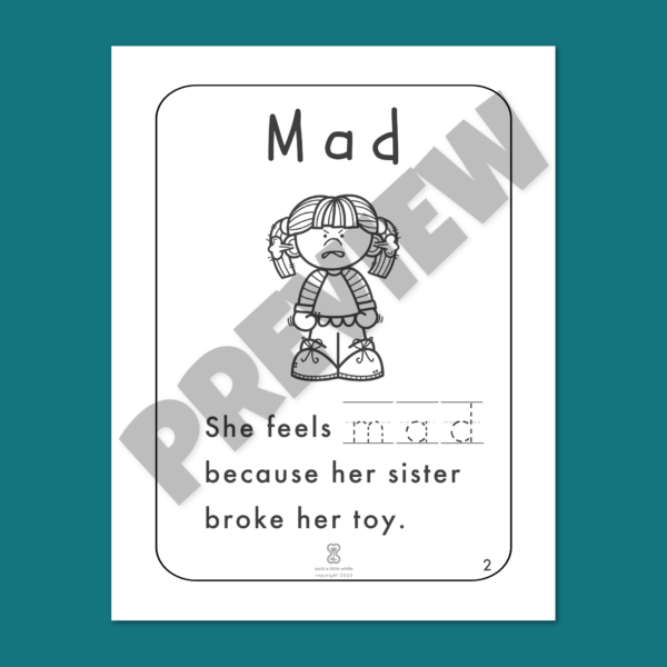 """Anger Worksheets for Kids PDF: """"It's Okay to Feel Mad!"""" by Such a Little While Preview 2"""