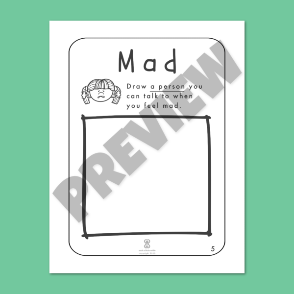 """Anger Worksheets for Kids PDF: """"It's Okay to Feel Mad!"""" by Such a Little While Preview 5"""