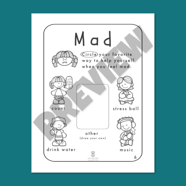 """Anger Worksheets for Kids PDF: """"It's Okay to Feel Mad!"""" by Such a Little While Preview 6"""