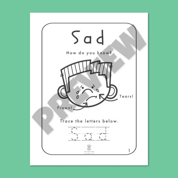 """Identifying Emotions Worksheet PDF: """"It's Okay to Feel Sad!"""" By Such a Little While Preview 1"""