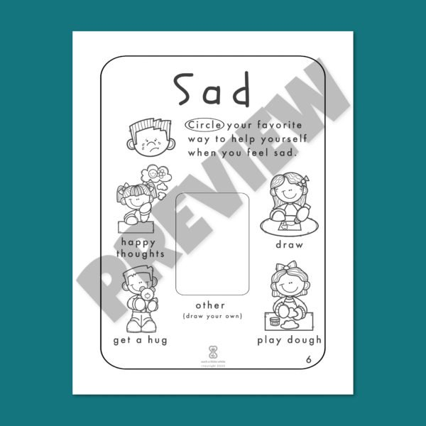 """Identifying Emotions Worksheet PDF: """"It's Okay to Feel Sad!"""" By Such a Little While Preview 6"""