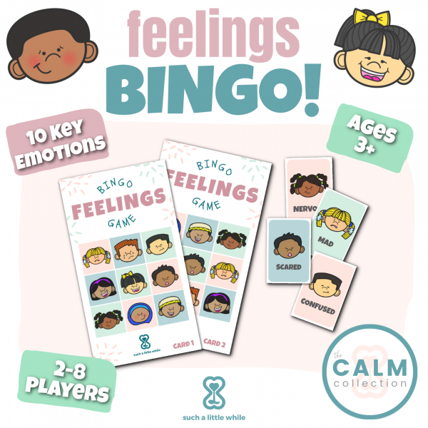 Printable Feelings Bingo Game Cards by Such a Little While
