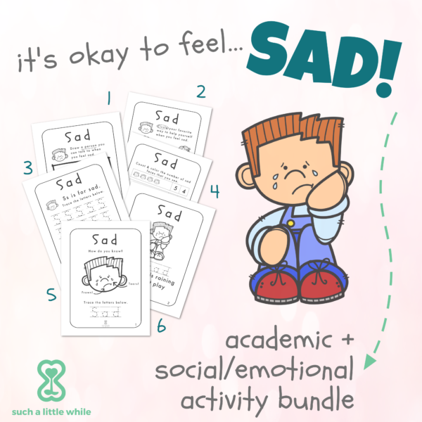 """Identifying Emotions Worksheet PDF: """"It's Okay to Feel Sad!"""" By Such a Little While"""