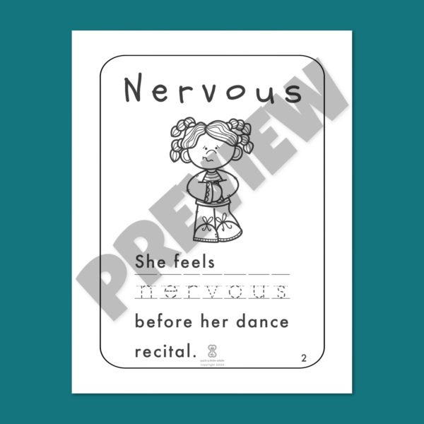 "Anxiety Worksheets for Kids PDF: ""It's Okay to Feel Nervous"" by Such a Little While Preview 2"