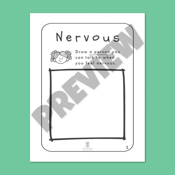 "Anxiety Worksheets for Kids PDF: ""It's Okay to Feel Nervous"" by Such a Little While Preview 5"