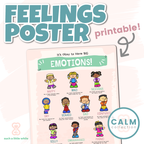 Feelings Poster Printable (Identifying Emotions PDF) | How to Create a Calming Corner by Such a Little While