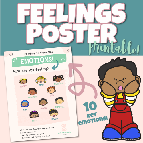 Feelings Poster Printable PDF for Identifying Emotions by Such a Little While