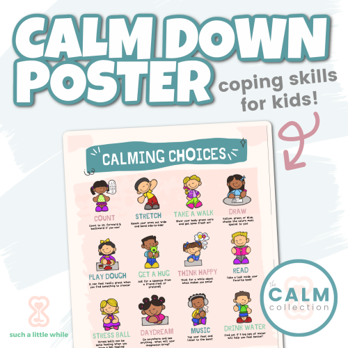 Calm Down Corner Poster: Coping Skill Choices for Kids | How to Create a Calming Corner by Such a Little While