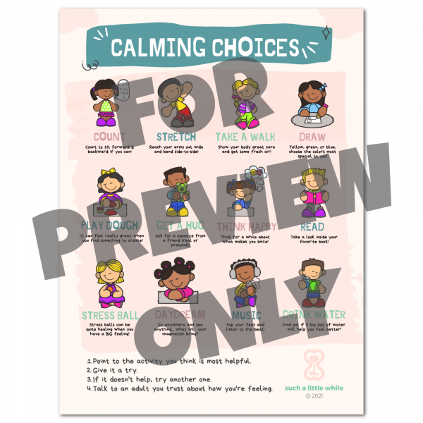 Preview of Calm Down Corner Poster by Such a Little While