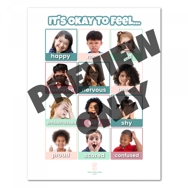 Preview of Printable Feelings Poster for Preschool Real Faces by Such a Little While