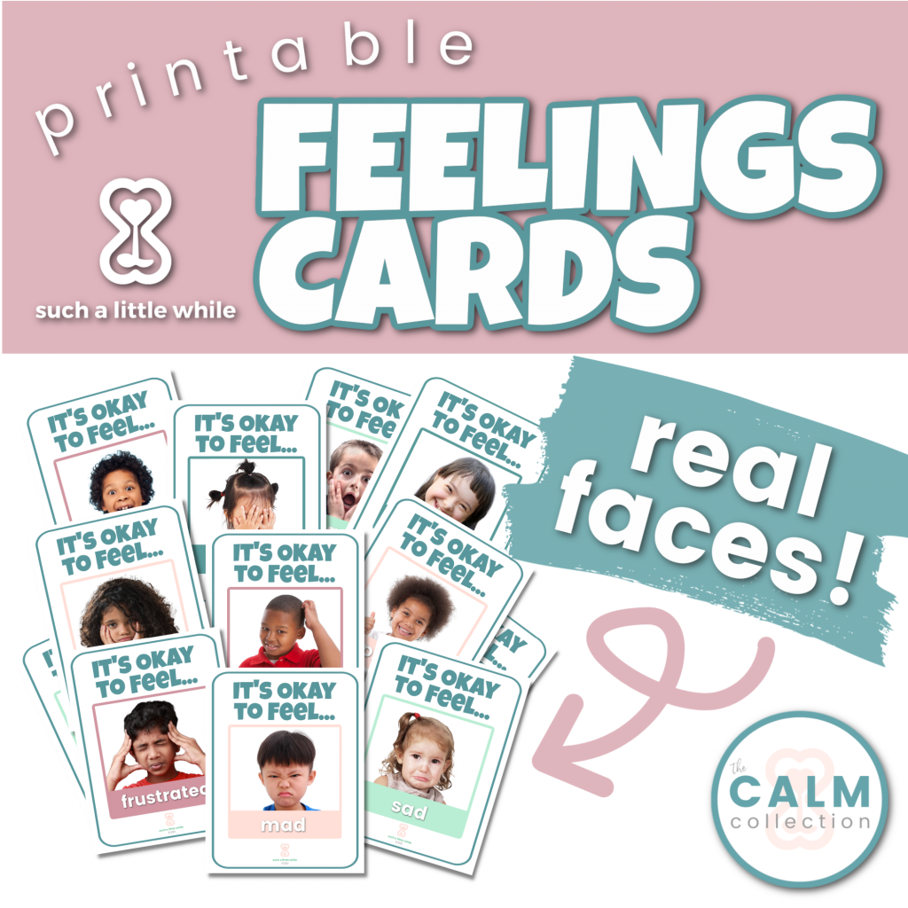 Printable Feelings Cards for Preschool with Real Faces by Such a Little While