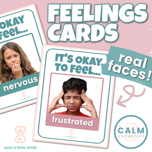 Feelings Cards for Preschoolers (Real Faces) | How to Create a Calming Corner by Such a Little While