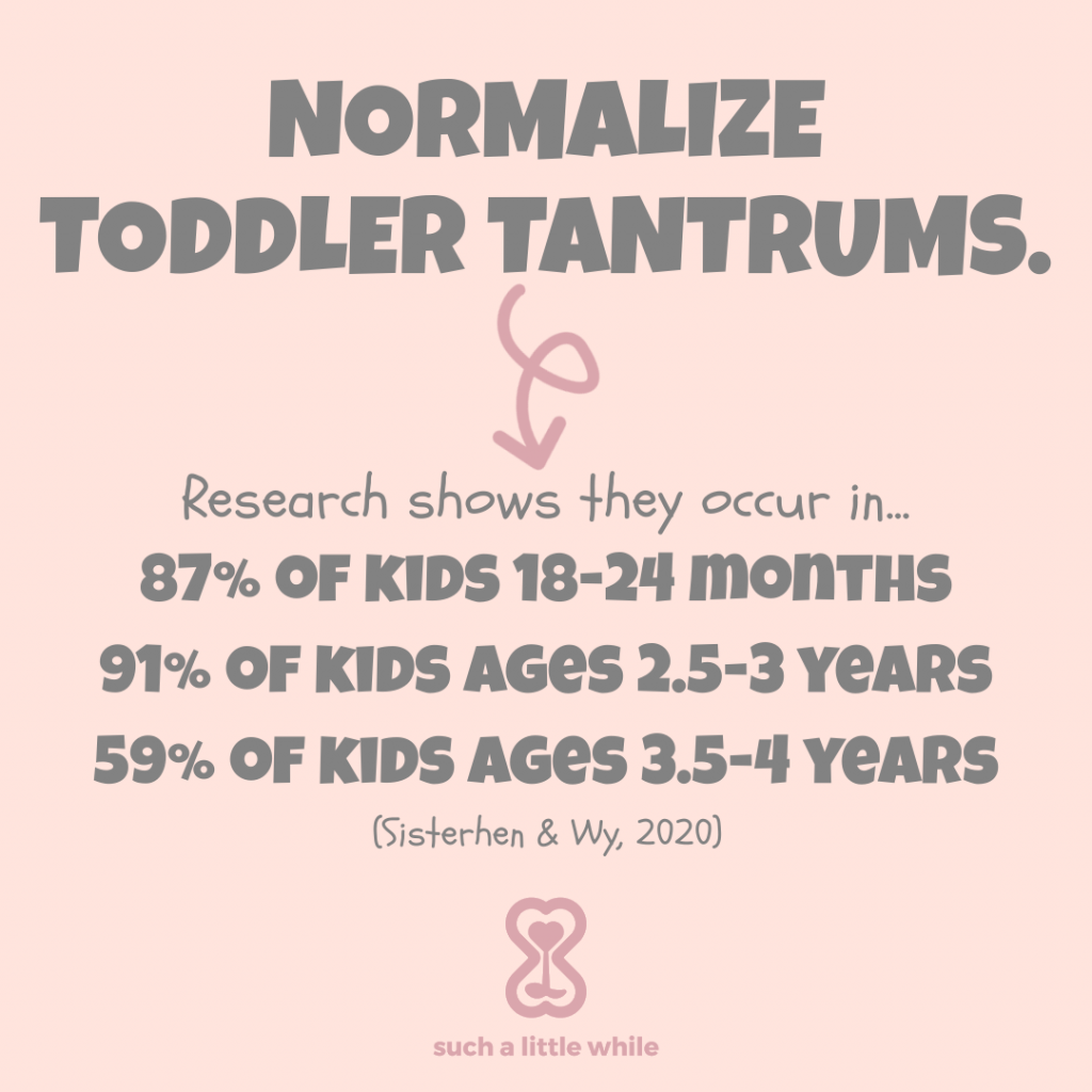 How to Handle Tantrums in 3-Year-Olds: Normalize Toddler Tantrums Instagram Post (Research shows they occur in 87% of kids 18-24 months, 91% of kids ages 2.5-3 years, and 59% of kids ages 3.5-4).  Source: Sisterhen & Wy, 2020