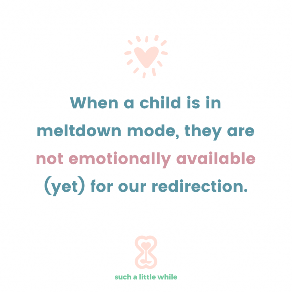 """How to Handle Tantrums in 3-Year-Olds: """"When a child is in meltdown mode, they are not emotionally available (yet) for our redirection.""""  Positive parenting tips by Such a Little While."""